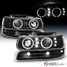 For 99-02 Silverado, 00-06 Suburban/Tahoe Black Halo LED Projector Headlights
