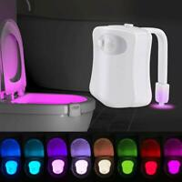 8 Color Toilet Night Light LED Motion Sensor Activated Bathroom Bowl Lamp