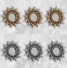Set of 3 Bronze or Silver Ornate Sunburst Moroccan Style Wall Mirrors Art Decor