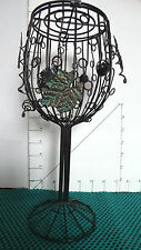 """Wine Cork Art Cage Or Candle Holder, Wine Glass Shape, Wrought Iron, 11"""""""