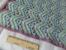 New Handmade Crochet Turquoise Baby Boy Buggy Pram Cot Knee Blanket Reversible