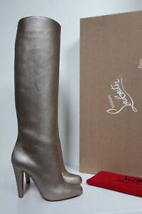 New 6.5 / 36.5 Christian Louboutin Marmara Gold Metallic Leather Tall Boot Shoes