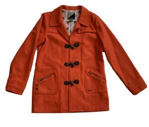Volcom Womens Wool Blend Orange Peacoat Size L