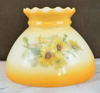 Vintage Yellow and Floral Glass Shade for Lamp
