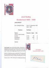 JACK HEDLEY SUNDERLAND 1950-1959 RARE ORIGINAL HAND SIGNED CUTTING/CARD