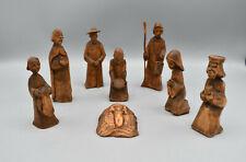 Alte Holzfiguren Krippenfiguren Handgeschnitzt - Set 8 Figuren