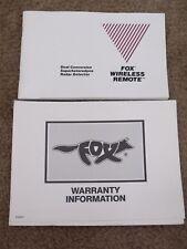 New listing 1987 Fox Wireless Remote Dual Conversion Superheterodyne Radar Detector Manual