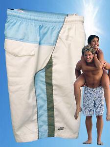 NEW NIKE CORTEZ Active Beach Sports Board Shorts Trunks Whte Blue XL