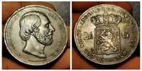 1868 Netherlands 2 1/2 Gulden Silver Coin, Rare shipwreck wow grade