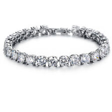 White Baguette Bow Style Tennis Bracelet 925 Sterling Silver Women Wedding Party