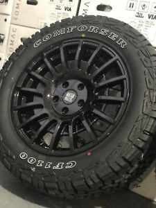 """18"""" VW CRAFTER MAN TGE ALLOY WHEELS 5X120 ALL TERRAIN TYRES GLOSS BLACK CAMPER"""