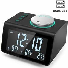Anjank Small Alarm Clock Radio - Fm Radio,Dual Usb Charging Ports,Temperature