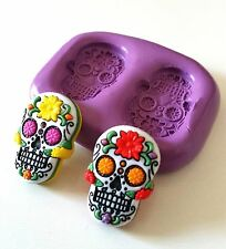 Double SUGARSKULL Silicone Mould - 26 mm Cake Decorate Polymer Clay Chocolate