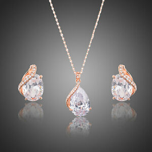 Clear Zircon Jewelry Set Chain Necklace Pendant Stud Rose Gold Plated Jewellery