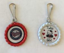 Handmade Minnesota Twins Zipper Pulls Set of 2