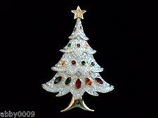 Signed Swarovski 4 Tier Christmas Tree Brooch Pin NWT