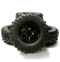 810021 1/8 Scale Off Road RC Nitro Monster Truck Wheel and Tyres Tires x 4 Black