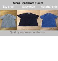 Mens hospital tunic top Nurse Carer Dentist Work wear Healthcare uniform Vet NHS