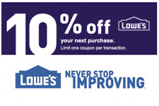 FIVE (5x) Lowes 10% OFF Lowe'sCoupons IN STORE/ONLINE - FAST Delivery in 3-Min