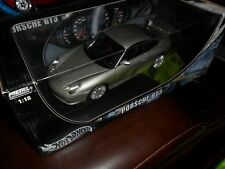 1/18 SCALE HOT WHEELS SILVER PORSCHE GT3 DIECAST METAL COLLECTION IN BOX