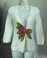 Anthropologie Field Flower Cardigan Ivory Pink Size XS