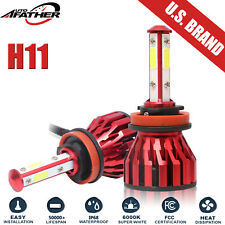 H11 LED Headlight 6000K 2019 80W 12000LM 4-Sides Kit Low Beam Bulbs Replace HID