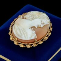 Antique Vintage Nouveau 14k Gold Filled GF Conch Shell Cameo Pin Brooch 11.2g