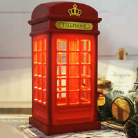 Retro Telephone Booth Light USB Rechargeable Red Table Phonebox LED Lamp London
