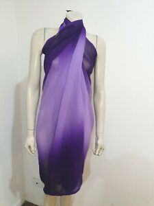Purple Ombre Semi Sheer Sarong Scarf Shawl Craft Fabric Home Decor