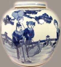 """Antique XL 19thC China """"Ming Style"""" Blue + White Porcelain Jar w/ Lid Landscape"""