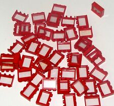 LEGO LOT OF 50 RED 1 X 3 X 2 WINDOWS TOWN HOME HOUSE GLASS CITY PARTS
