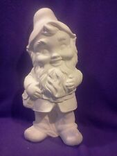 """Large Yard Gnome with bag 17 1/2"""" ready to paint ceramic bisque"""