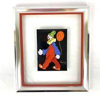 Jean Lucey 14x12 Signed Enamel Copper Framed Painting Clown Art Orange Balloon