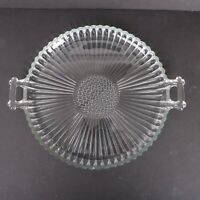 Clear Glass Flower Radial & Dot Pattern Round Serving Plate Platter Tray Handles