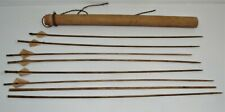 Vintage Bamboo Quiver w/8 Split Bamboo Fletched Arrows