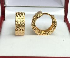 18k Solid Yellow Gold Hoop Sparkle Earrings Diamond Cut Design 2.40Grams