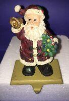 Santa Claus Christmas Stocking Holder Cast Iron base Resin Santa w/ Tree