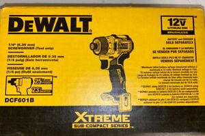 "DEWALT DCF601B Xtreme 12V Max Brushless 1/4"" Cordless Screwdriver Tool Only New"