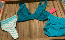 Deep Teal Bra And Panty Lot 34 C Extra Small NWT Free Shipping