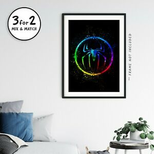 Spider-man Logo Wall Art Print, Marvel Far From Home 100% Cotton Paper Poster
