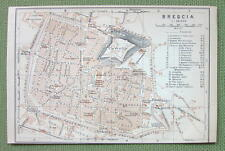 1903 MAP ORIGINAL Baedeker - ITALY Brescia City Plan