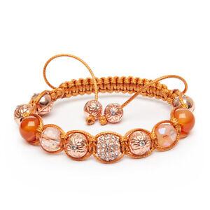 Shamballa Gemstone Bracelet Carnelian Rose Gold Pave Harlequin Crystal UK Made