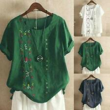 Embroidered Blouse Short Sleeve Tops & Shirts for Women