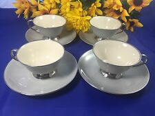 Flintridge China BROOKMERE GRAY Cup & Saucer Set Of 4