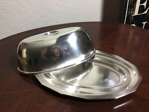 FRENCH ART DECO HOTEL SILVER SERVING TRAY & DOME COVER