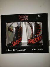 Freddy🔥 Vs Jason 🔪16 oz Glass Set-Pint Nightmare Elm Friday the 13th