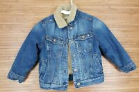 Childrens Place Boys Sherpa Lined Trucker Jean Jacket sz XS 4 Distressed Snaps