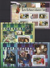 GUINEE 2007 - LES ECHECS DANS L'ART- CHESS XADRES 3 S/S + M/S MNH**