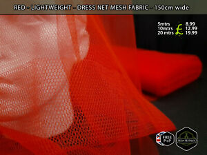 RED - DRESS NET MESH FABRIC - COSTUMES, DECOR & MORE - 150cm wide
