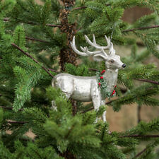 """Silvery Mercury Glass Standing Reindeer with Wreath Ornament 6"""" Gift Boxed"""